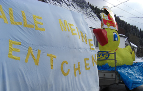 Ente Motiv Faschingsumzug Katzhütte 2010