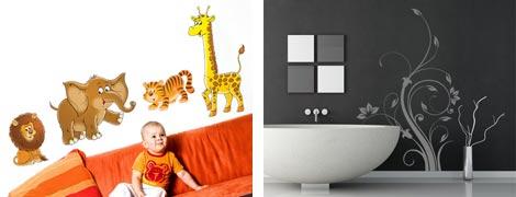 Wandsticker Set Safari im Kinderzimmer und Wandtattoo im Bad